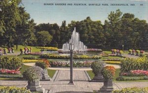 Sunken Gardens And Fountain Garfield Park Indianapolis Indiana 1956