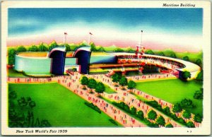 1939 NEW YORK WORLD'S FAIR Official Postcard MARITIME Building #A-3 Linen Unused