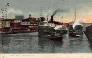 River Scene Cleveland Ohio Ship Boats Postcard