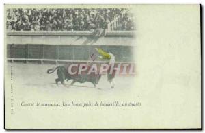 Old Postcard Bullfight bull Bullfight A good pair of banderillas at cuarto