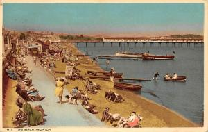 Paignton The Beach, animated seaside, pier, boats (Tor Bay) 1954