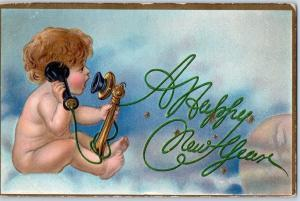Vintage HAPPY NEW YEAR Embossed Postcard Baby New Year on Telephone 1913 Cancel