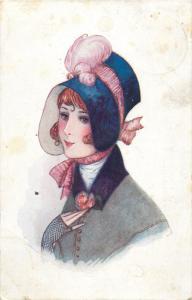 Chocolat AIGLON chocolate advertising 1920s postcard fancy lady hat bonnet