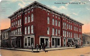 E64/ Wellsburg West Virginia Postcard 1913 Hudson House Hotel Men 11