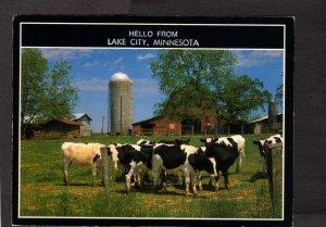 MN Hello From Lake City Minnesota Cows Silo Barn Farming Postcard