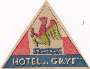 Poland Skupsk Hotel Gryf Vintage Luggage Label lbl1656