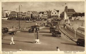curacao, N.W.I., WILLEMSTAD, Queen Emma Pontoon Bridge Otrabanda Side, Cars 1930
