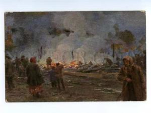 137465 Fire RUSSIA Village by GOROKHOV Vintage colorful PC