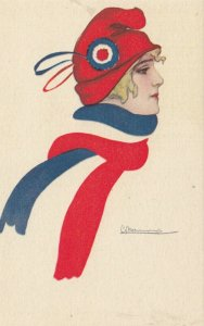 ART DECO ; Country Flag Scarf Girl #9 , 1910-30s