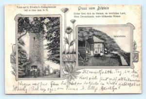 Postcard Germany Gruss vom Bilstein Schutzhutte 1906 Cancel to New York J13