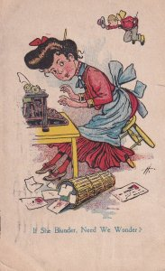 COMIC; PU-1909; If She Blunder, Need We Wonder?, Woman Typing, Little Man F...