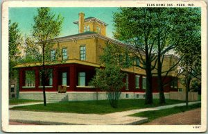 Peru, Indiana Postcard ELKS HOME 365 B.P.O.E. Lodge Building View 1931 Cancel