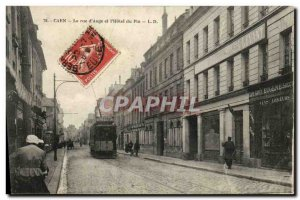 Old Postcard Caen La Rue d'Auge and the Hotel du Pin Tram Advertisement Bened...