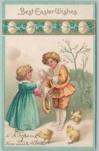 Clapsaddle Easter~Lil Blonde Victorian Girl And Boy Examine Large Egg~Chicks~Emb