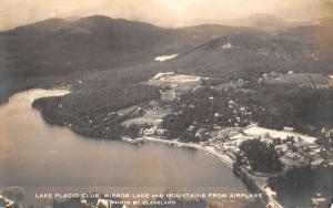 Lake Placid New York Club Mirror Lake Aerial Real Photo Antique Postcard K12598