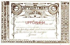 pre-1907 APPOINTMENT CARD JAN 15, 1909 meet me SAT JAN 16 6 pm at Elberton Depot