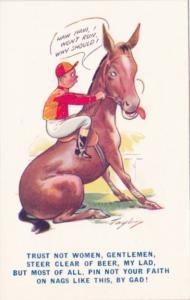 Humour Man On Horse Haw Haw I Won't Run Why Should I Bamforth