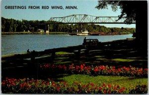 RED WING, Minnesota Greetings Postcard w/ Mississippi River / Bridge View c1960s