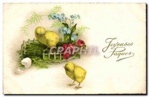 Old Postcard Fancy Chicks Happy Easter