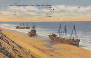 Barges Ashore Provincetown Cape Cod Massachusetts 1952