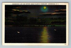 Canandaigua NY, Canandaigua Lake And Squaw Island, Moon, Linen New York Postcard