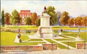 Gower Monument Stratford-on-Avon England Art Colour Vintage Postcard M32