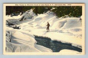 Lake Placid NY, Skier, Mountain Brook, Adirondack, Linen New York Postcard