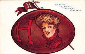 College Girls Harvard University Massachusetts Football Raphael Tuck Postcard