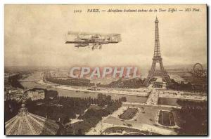 Old Postcard Jet Aviation evolving around Paris from the Eiffel Tower