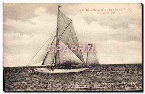 Old Postcard Boat Sailing boat off Port Vendres