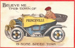 Princeville Illinois~Is Some Speed Town~Man Races in Vintage Car~1914 Pennant