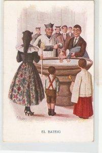 J. Ibañez. Baptizing the baby. El Bateig· Nice vintage Spanish postcard