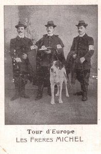 Les Freres Michel French Musical Trio & Dog Act Antique Advertising Card