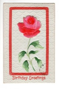 Birthday, Textured Paper Silk-screened Felt Rose Applique, Used Nova Scotia 1914