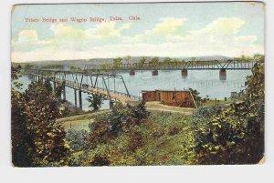 PPC POSTCARD OKLAHOMA TULSA FRISCO BRIDGE AND WAGON BRIDGE