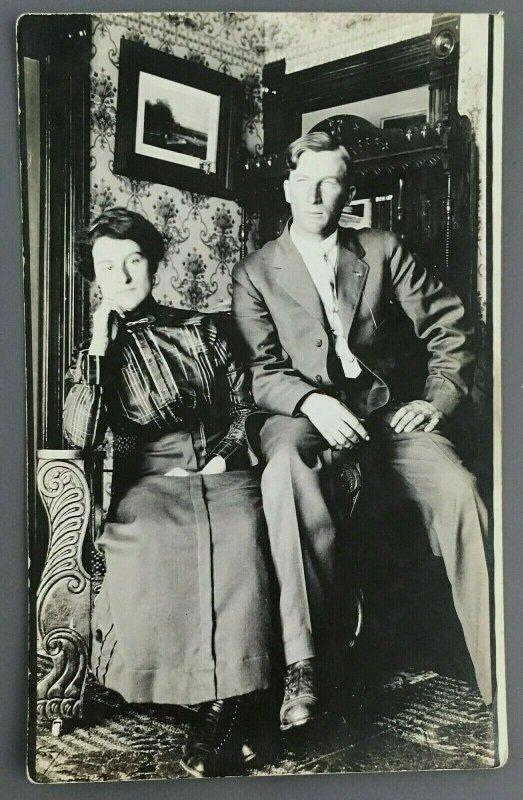 c1910 Husband Wife Portrait RPPC Postcard Living Room Theodore Winifred Fought
