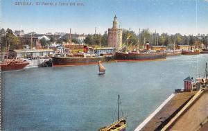 Spain Old Vintage Antique Post Card El Puerto y Torre del oro Sevilla Unused