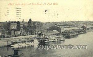 Union Depot And Boat Docks Ferry Boat, Ferries, Ship St. Paul, Minn, USA 1911...