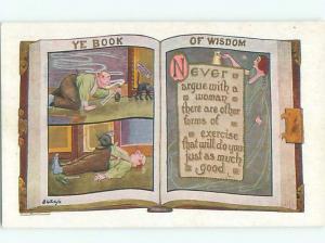 Pre-Linen Comic BOOK OF WISDOM - NEVER ARGUE WITH A WOMAN AB9277