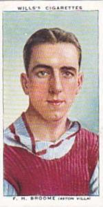 Wills Vintage Cigarette Card Association Footballers No 9 F H Broome Aston Vi...