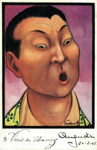 China Artist Signed Graham Hyde Chinese Man Cartoon Funny Suprised 05.65