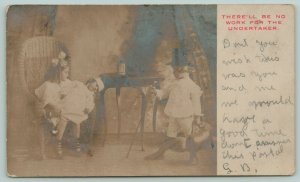 No Work for the Undertaker Children Play Nurse Doctor & Patient~c1905 RPPC