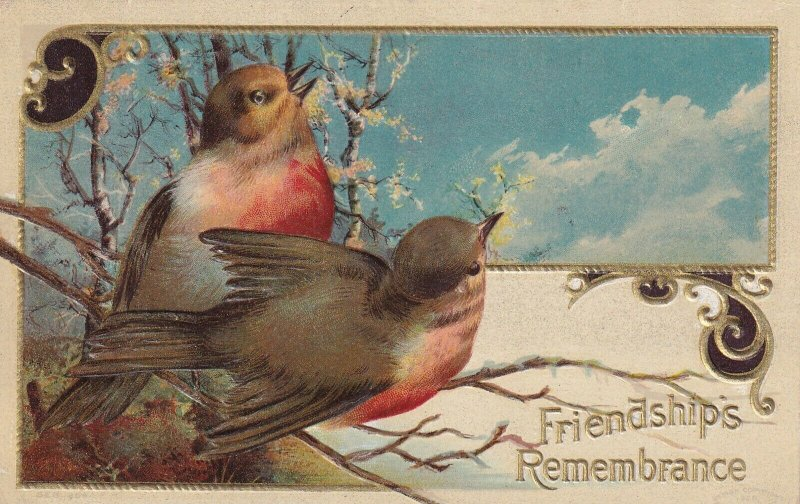 FRIENDSHIPS Remembrance, 1900-10s; Birds chirping on a branch
