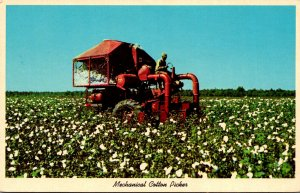 Black Americana Mechanical Cotton Picker In The Southland