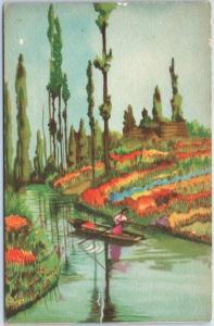 Vintage Mexico Postcard Xochimilco Scene - Artist-Signed FISCHGRUND Unused