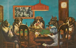 Dogs playing Poker, Bulldog holding Ace in paw,  1940-60s