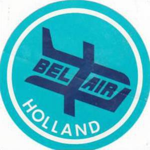 BEL AIR HOLLAND AIRWAYS VINTAGE AVIATION LABEL