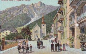 CHAMONIX, Haute Savoie, France, 1900-1910s; Place De L'Eglise Et Le Brevent