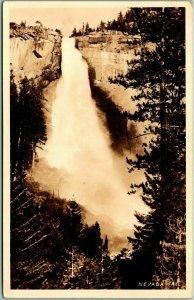 1940 YOSEMITE National Park California RPPC Real Photo Postcard NEVADA FALL