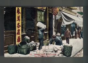1919 San Francisco USA Chinatown RPPC Postcard cover to France Market Scene